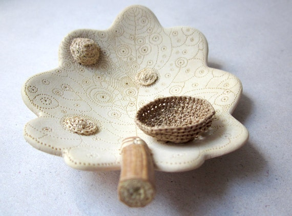 Autumn leaf -Home decor, ring dish