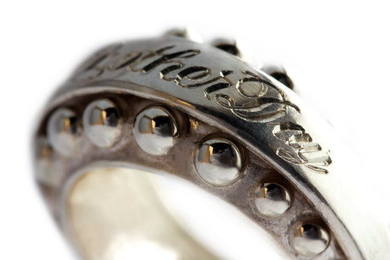 Engraved personalised Statement ring in sterling silver