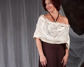 Light Beige Sepia Embroidered Scarf. Gift under 100