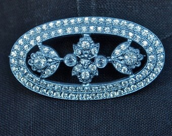 20's Brooch Sparkling Art Deco Czech Pave Rhinestone Oval Brooch Floral Motif Signed