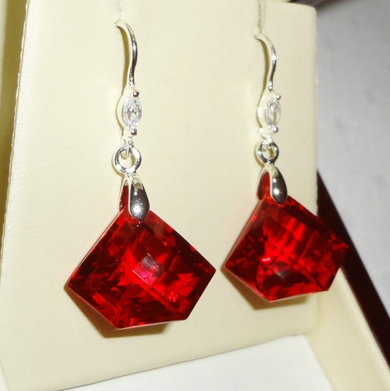 30 cts Natural Fancy Checkerboard Red Topaz gemstones, solid .925 Sterling Silver pierced earrings