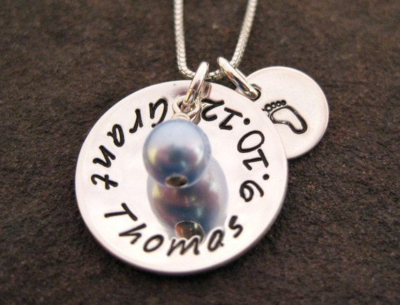 Mother Jewelry New Mom Necklace Baby Boy Name Birthdate