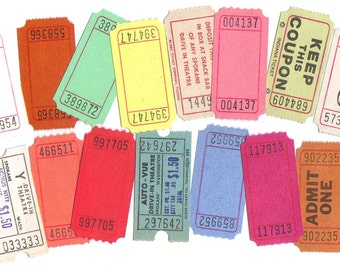 10 assorted vintage colored TICKETS