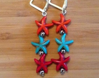 Starfish Earrings - Orange, Turquoise and Red