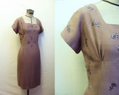 Mocha brown 1950s wiggle dress with embroidered rhinestone bodice, by Carnegie - L