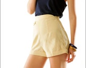 Buttercream Corduroy High Waist Retro Bombshell Mini Shorts--XS/S