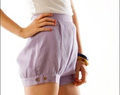Reserved--Lavender Pantaloons Retro High Waist Mini Shorts--XS/S