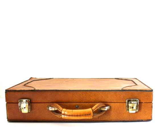 Vintage WHISKEY Brown Vegan Briefcase Laptop Bag