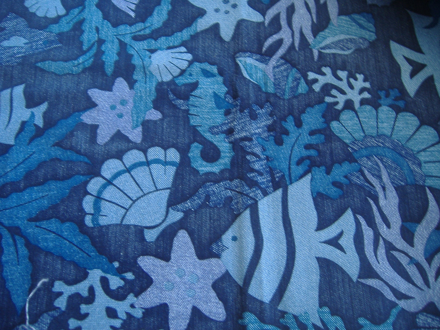 One yard blue cotton fish fabric for Fish fabric by the yard