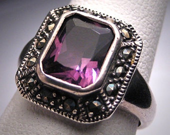 Antique Amethyst Rose Cut Ring Victorian Art Deco 1920