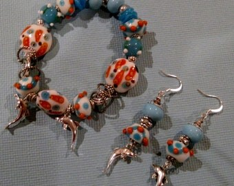 dolphins bracelet and errings