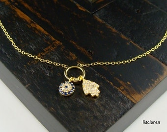 Tiny Hamsa and Evil Eye Necklace in Gold - Good Luck, Protection Gifts, Faith, Good Luck Jewelry, Fashion Trends, Hamsa an Eye Necklace