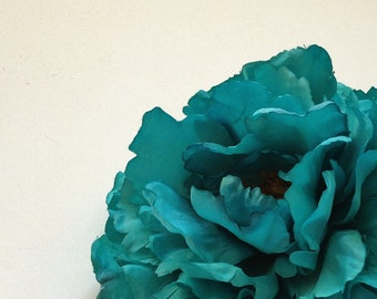 Silk Flowers - One Fabulous Jumbo TURQUOISE Peony - 6 Inches - Artificial Flowers