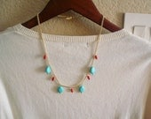 Turquoise and Coral Statement Necklace with Gold Plated Chain