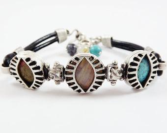 Exotic Trio Eye Turkish Leather Bracelet - Semi Precious Natural Stones - Unakite, Agate and Turquoise - Black - Summer Fashion