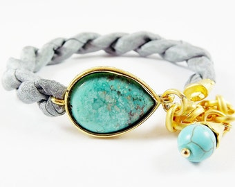 Turquoise Stone & Titanium Grey  Silk Turkish Bracelet - Teardrop Gold Plated - Fall Fashion