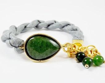 Deep Green Jade & Titanium Grey  Silk Turkish Bracelet - Teardrop Gold Plated - Fall Fashion