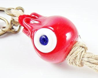 Artisan Handmade Red Pomegranate Keychain or Bag Charm -