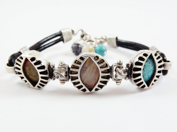Exotic Trio Eye Turkish Leather Bracelet - Semi Precious Natural Stones - Unakite, Agate and Turquoise - Black - Summer Fashion