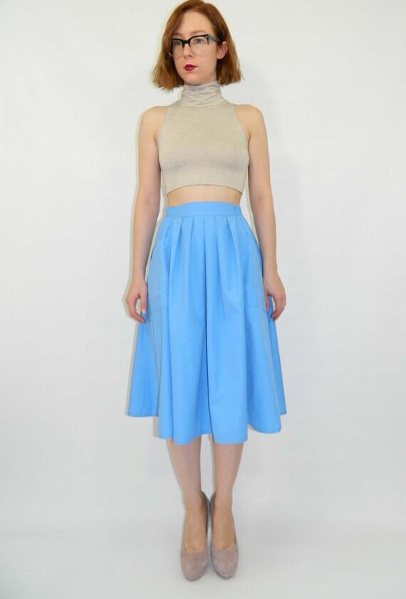 Full Skirt Cornflower Blue Pocket Skirt Small