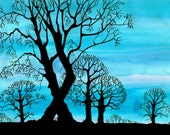 Intense Turquoise Blue  - Trees in a Winter Landscape - Print -10 x 8 inches
