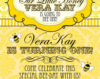 DIY Printable Little Honey Bee Birthday Invitation