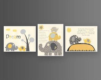 Kids Wall Art Nursery Decor // Baby Boy Room Art // Set 3 8x10 // Nursery Wall Decor // Yellow Gray // Elephant, no one else, Before you
