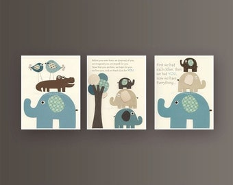 Baby boy room, Nursery print, Baby elephant, blue and brown, 3 prints 8x10, Match to the colors of Bradley, kids room art, children room