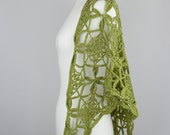 crochet motif shawl chunky green apple cotton forest lace triangle wrap neckwarmer scarf autumn for her - the naos