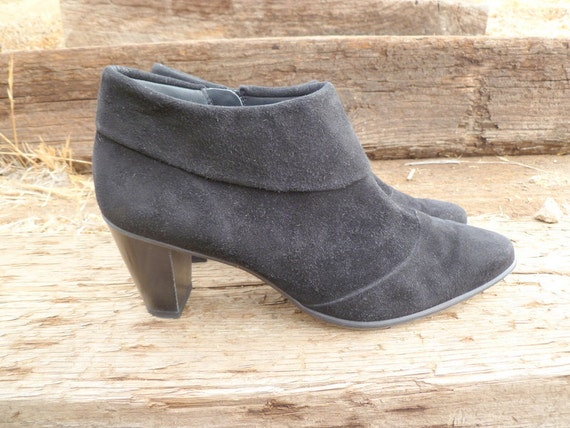 1980s black suede ankle boots