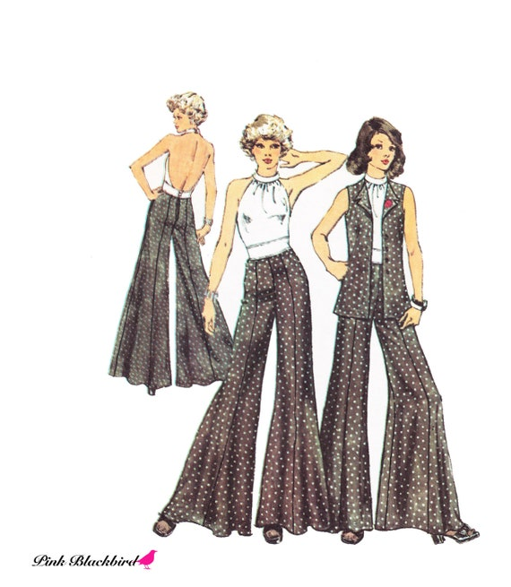 70s Halter Top Sewing Pattern/ Vintage 1970s UNCUT Simplicity Halter Top, Vest and Wide Leg Pants Sewing Pattern 5611
