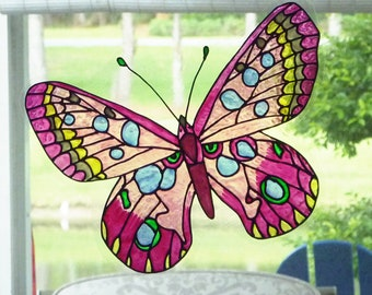 Giant  butterfly- pink, lavender and raspberry window cling