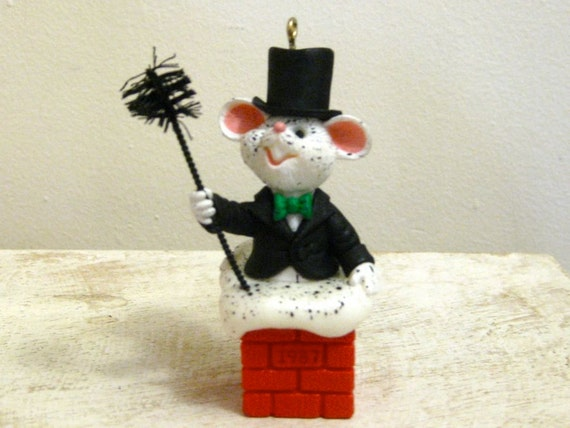Christmas Ornament Hallmark Wee Chimney Sweep Vintage 1987