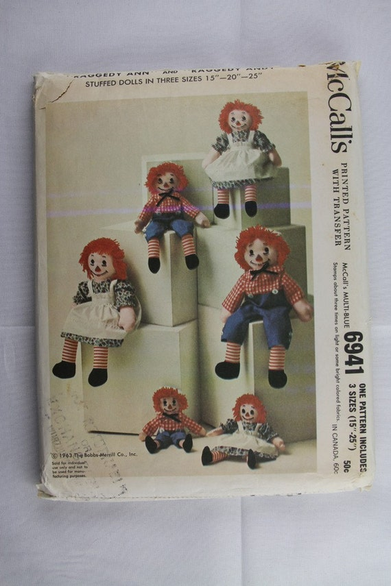 "Uncut McCalls 6941 15"" 20"" 25"" Raggedy Ann and Andy Rag Stuffed Doll and Clothes Sew  Sewing Pattern"