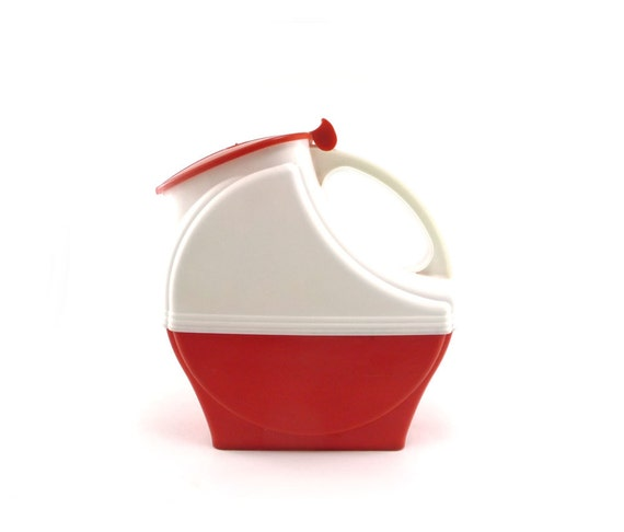 Red and white mid century pitcher - vintage Burrite plastic art deco plastic pitcher