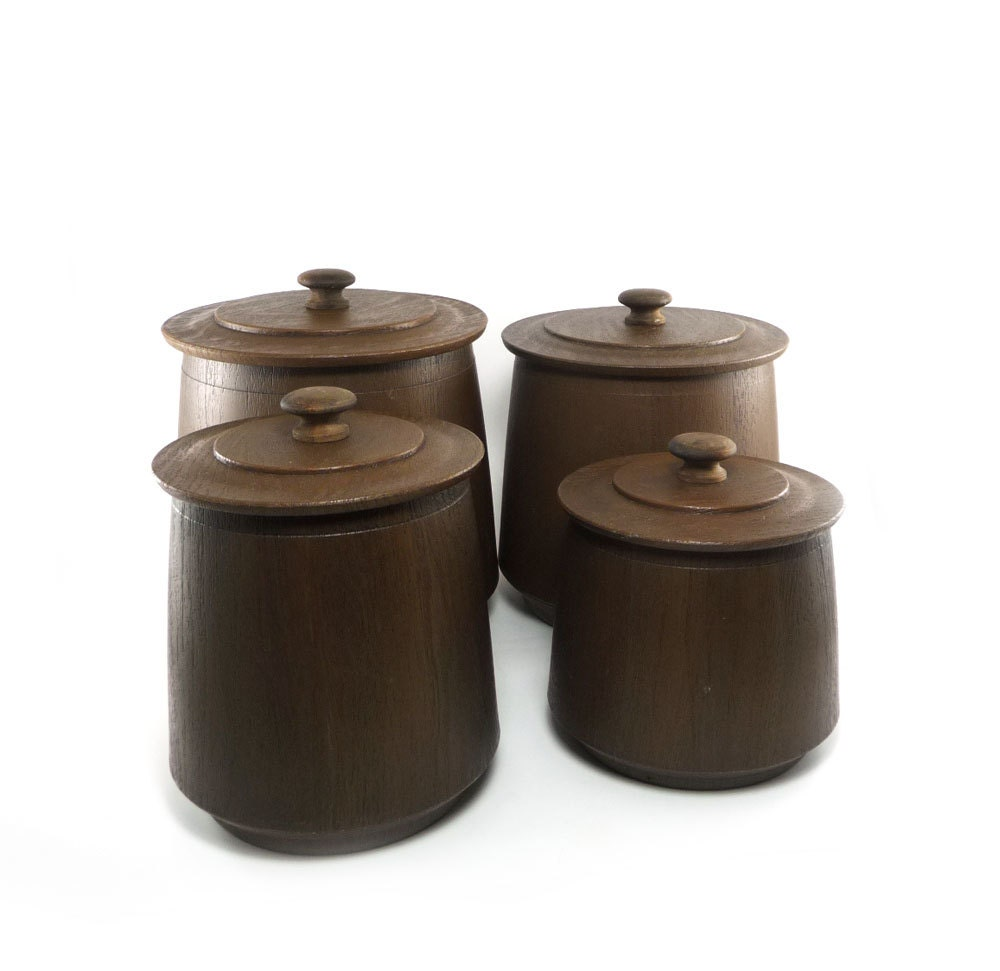 Vintage faux wood canister set chocolate brown french roast
