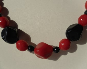 Fun and Funky Black and Red Beaded Necklace