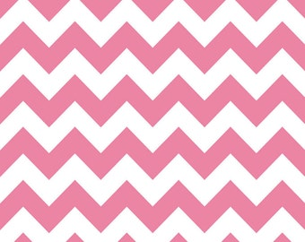Riley Blake Fabric - 1 Yard of Medium Chevron in Hot Pink