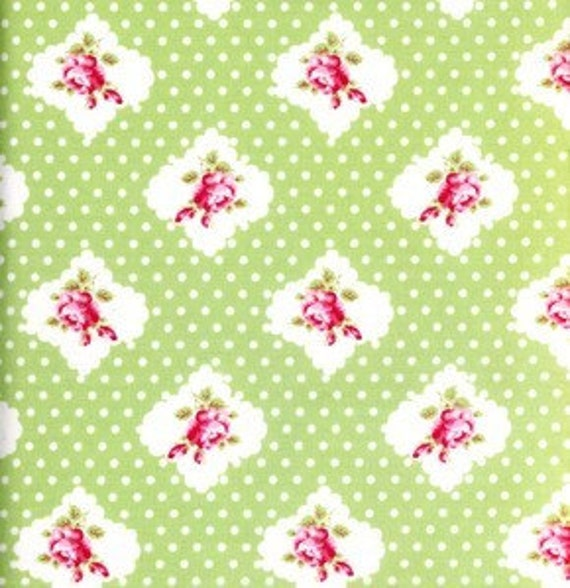 Sale - Tanya Whelan Fabric - Darla Rosie Dot Green 1 yard