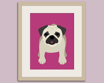 Pug print puppy dog nursery decor. Dog nursery print. Art for children, kids decor. Custom dog art for kids. Art print by WallFry