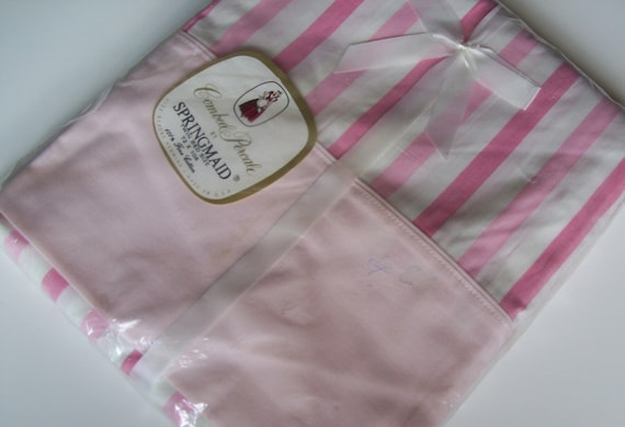 Springmaid Combed Percale Twin Flat Sheet pink stripes NOS NWT
