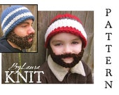 SALE!!!!  PATTERN--Knit Bearded Beanie