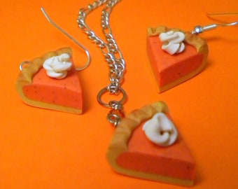 Pumpkin Pie Set - Necklace and Earrings (Post or Dangle)