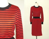 Vintage 80s dress black & RED STRIPED hipster long sleeve knit - S/M