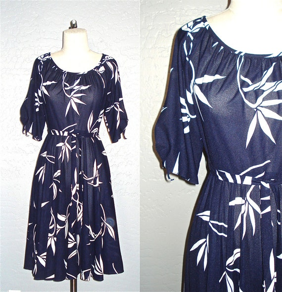 Vintage 70s dress BIRD of PARADISE print navy and white - S/M