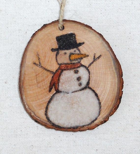 snowman christmas tree ornament original sand painting on wood. Black Bedroom Furniture Sets. Home Design Ideas