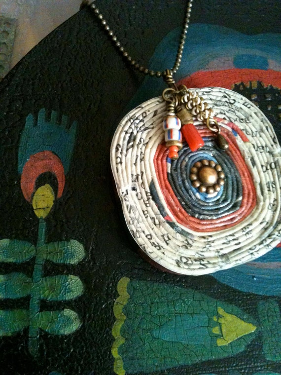 Recycled Eco Paper Swirl Necklace in Coral and Blue