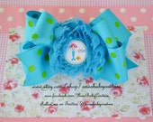 FREE SHIPPING Boutique Hair Bow Lalaloopsy Mermaid Inspired Blue Green Shabby Chiffon Rosette Handmade by Ana's Baby Couture on Etsy