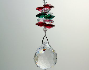 Christmas Ornament Crystal Ball Suncatcher m/w Swarovski Octagons in Red, Green, Red