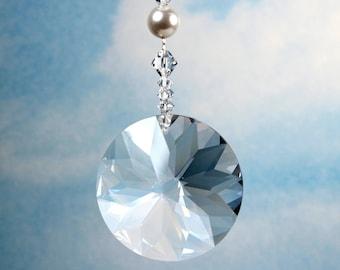 Suncatcher 45mm Finely Cut Austrian Prism Rainbow Maker Car Charm Ornament m/w Swarovski Bicone beads & Swarovski Pearls, Pearl Place N More